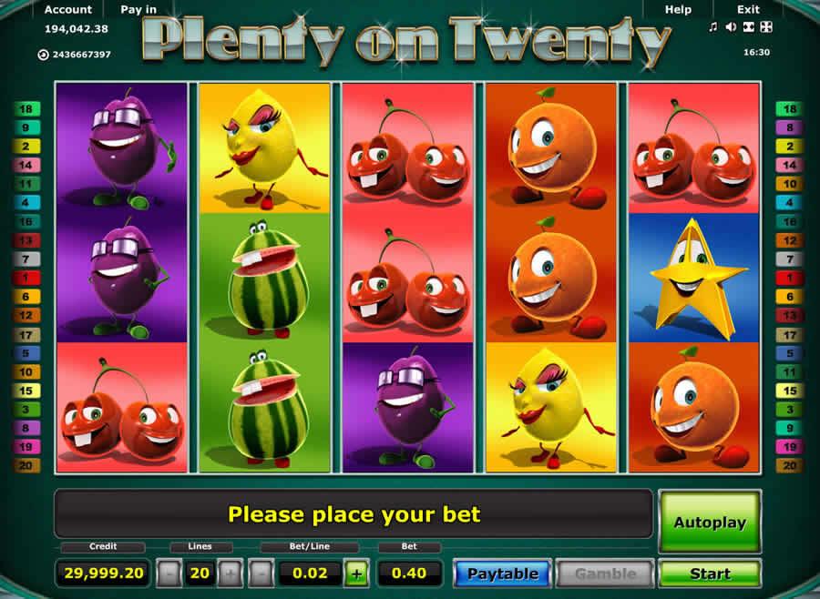 plenty on twenty kostenlos spielen